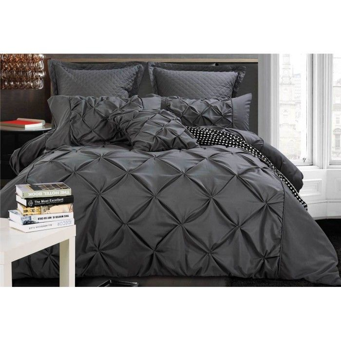 Super King Charcoal Diamond Pintuck Quilt Cover Set Quilt Cover Sets Quilt Cover King Size Quilt Covers