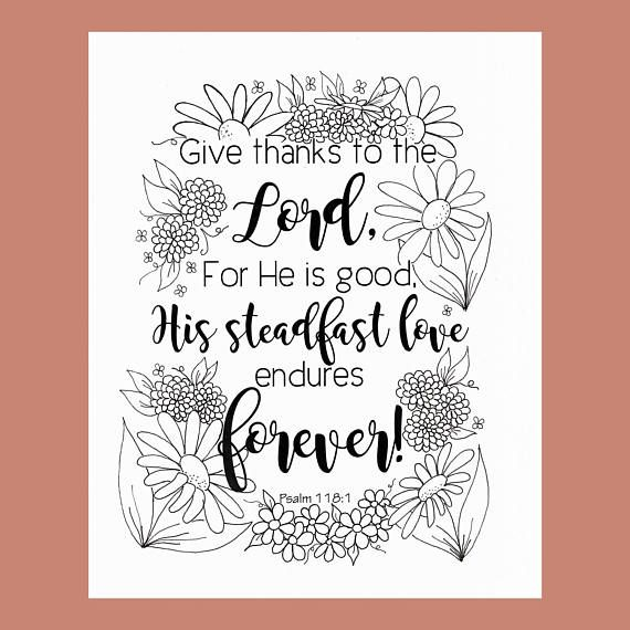 Give Thanks Coloring Page Psalm 1181 Bible Verse