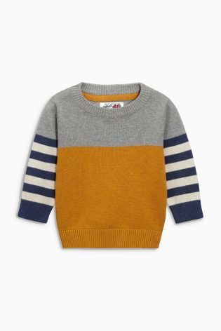 Buy Yellow/Navy Stripe Crew Neck Jumper (3mths-6yrs) online today at Next: Australia