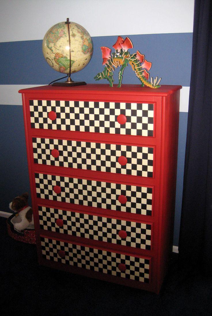 "I turned an old oak dresser into a ""race car themed"" Dresser."