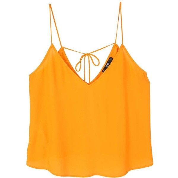 Flowy Strap Top (£9.99) ❤ liked on Polyvore featuring tops, shirts, crop tops, blusas, strap crop top, orange shirt, bow crop top, v-neck top and crop shirt