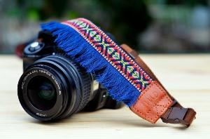 Blue Bohemian Camera Strap for DSLR \  SLR Quick Release by iMoShop