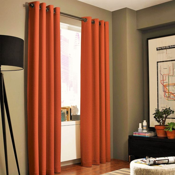 Interior designs ideas with 1 panel solid orange thermal lined foam blackout heavy thick window treatment curtain drapes silver grommets (108 length ) Sizes: 55″ wide x 63″84″95″ or 108″ long (each panel) **select the length you desire** provides great privacy and...