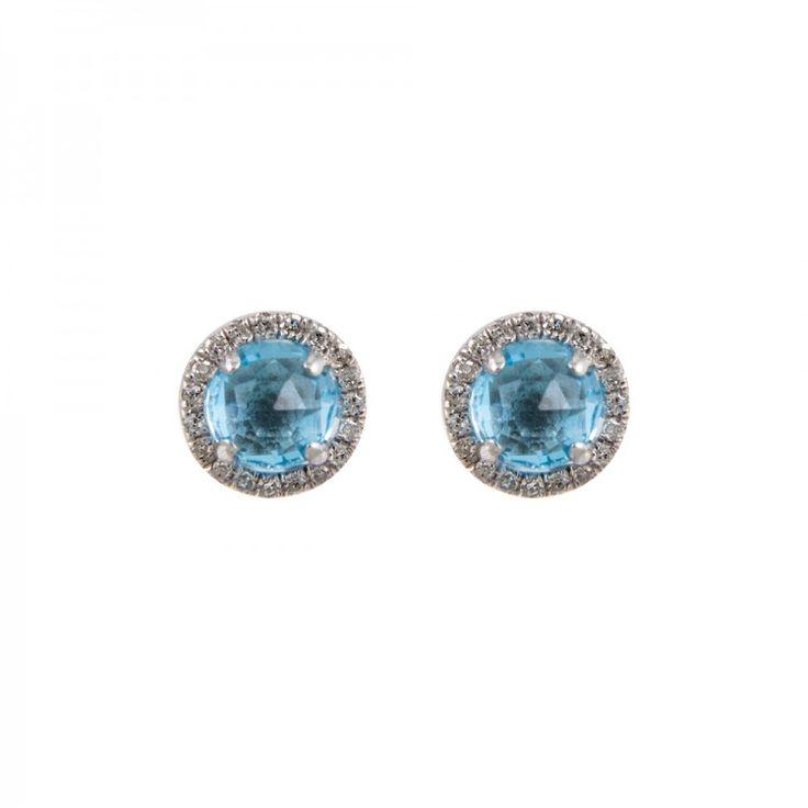 Pendientes pequeños de piedra redonda con orla de diamante en plata de ley
