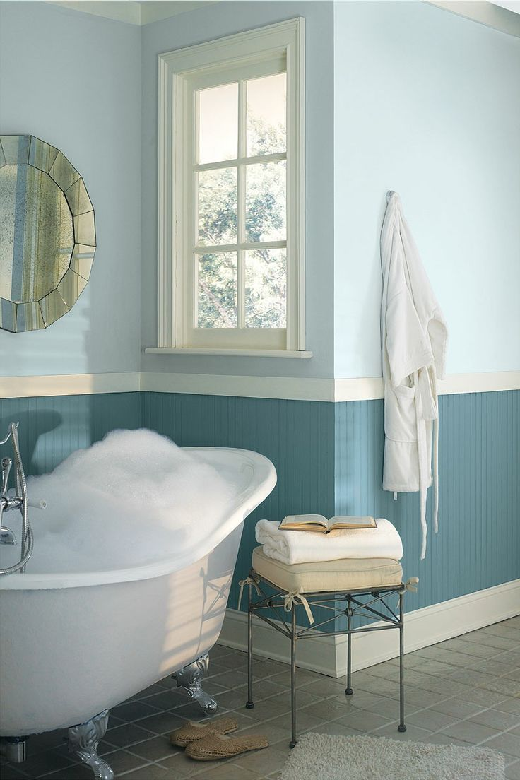 Blue bathroom ideas - Cool Two Tone Blue Bathroom Colors Idea Combined With White Freestanding Tub Near Wire Table Also French Window