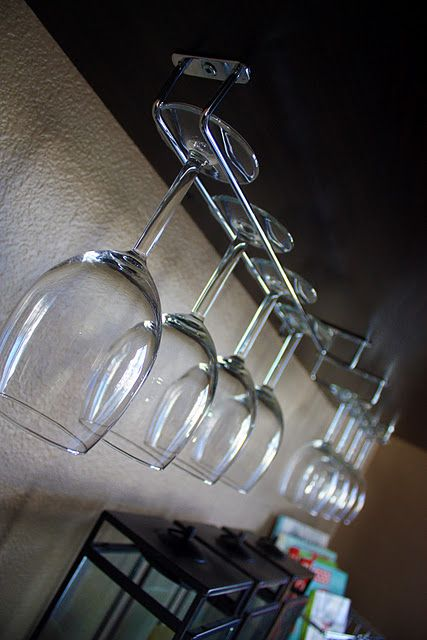 How to make our own wine glass storage - since I was JUST looking into this!