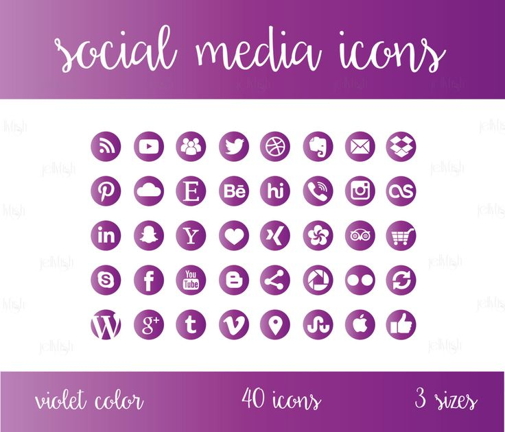 Social Media Icons Set Violet/Purple Download by jellyfishfish