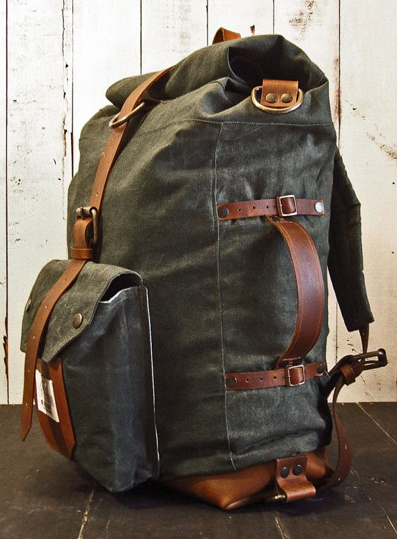 The Nomad II Backpack  Hand waxed canvas von ScaramoucheWorkshop