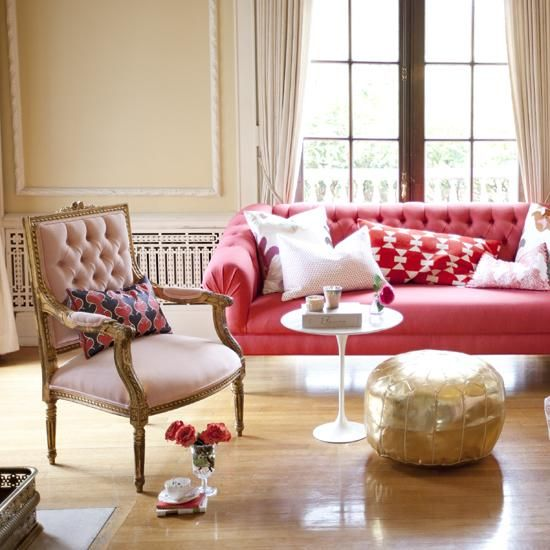 ... , Living Room, Pink Chairs, Red Couch, Moroccan Poufs, Leather Poufs