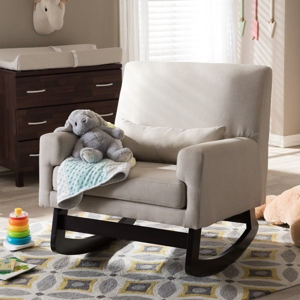 Baxton Studio Imperium Wood and Light Beige Fabric Contemporary Rocking Chair with Pillow