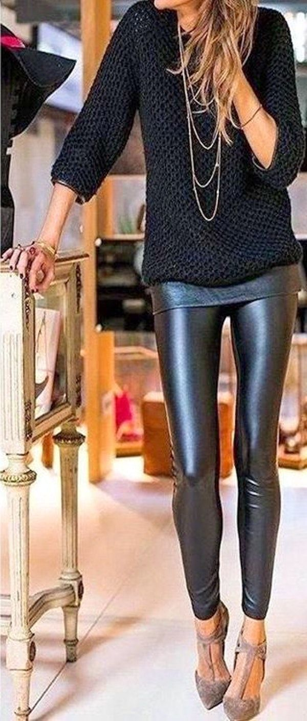 #cute #outfits Black Blouse // Skinny Leather Leggings // Studded Pumps