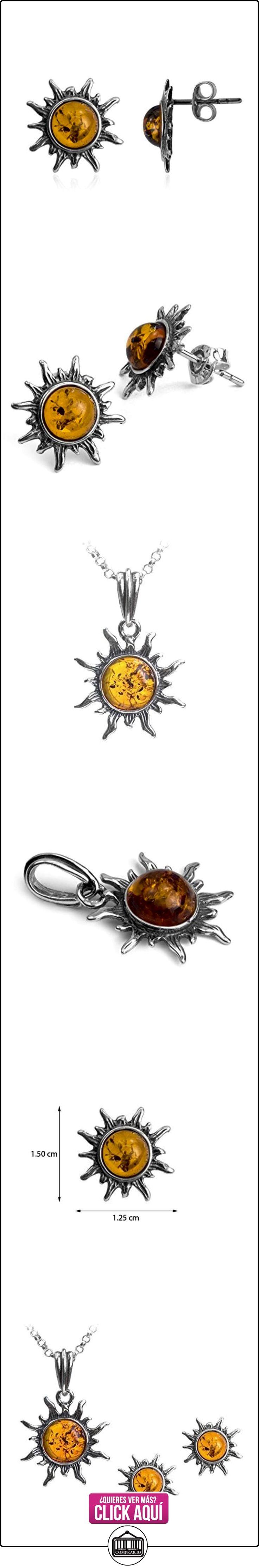 Miel ámbar de plata de ley Collar con colgante en forma de sol Juego de pendientes de 46 cm  ✿ Joyas para mujer - Las mejores ofertas ✿ ▬► Ver oferta: http://comprar.io/goto/B00NO77K3G