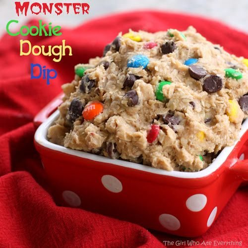 Monster Cookie Dough Dip  1 (8 ounce) package cream cheese, softened  ½ cup butter, slightly softened   1 cup creamy peanut butter   2 cups powdered sugar   3 Tablespoons brown sugar  1/4 cup all-purpose flour  1 teaspoon vanilla   2 ½ cups rolled oats, old fashioned or quick (see Note)  2/3 cup plain M (give or take)  1 cup semi-sweet chocolate chips