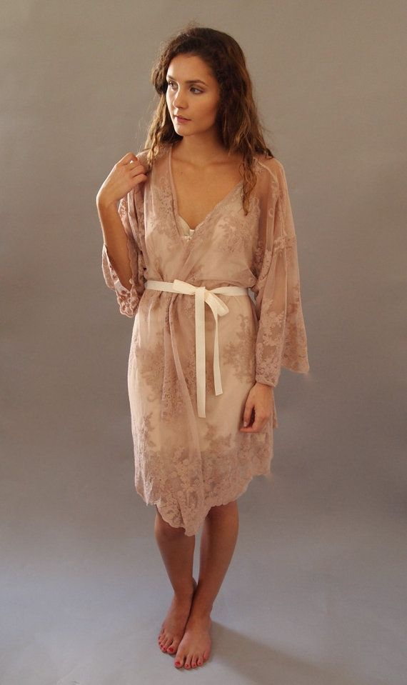 HELENA Kimono - Wedding day lingerie, Blush Pink Guipiere lace, Getting Ready Kimono - Handmade in Brighton - honeymoon, bridesmaids gift