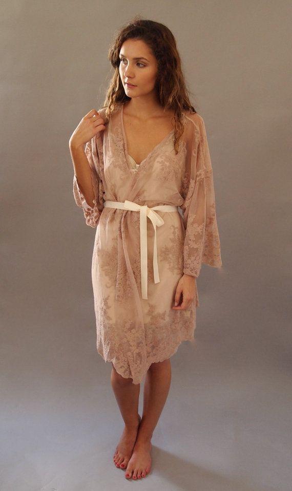 HELENA Kimono - Wedding day lingerie, Blush Pink Guipiere lace, Getting Ready Kimono - Handmade in Brighton - honeymoon, bridesmaids gift