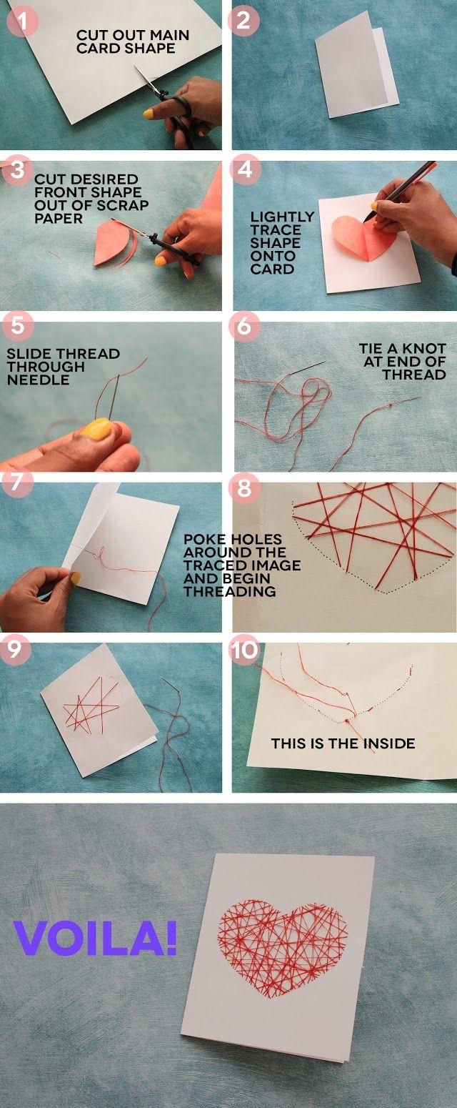Mit Nadel und Faden: Herz aufnähen auf eine Karte #Geschenk #Liebe #diy