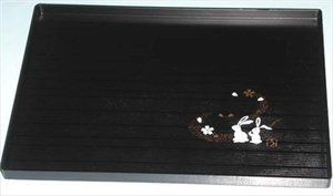 Plastic Rectangle Sushi Plate Bunny Black #1902 by JapanBargain. $4.00. Japanese Plastic Rectangle Plate with Bunny, Moon and Cherry Blossom Pattern. Japanese Plastic Lacquer Sushi Plate * Dimension: 8-1/4 in x 6 in * Material: Plastic * Made in Japan