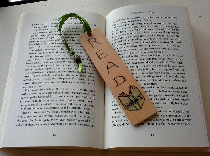 Wooden Bookmark, with ribbon and Bead, handdrawn pyrography design, says READ books with an open book woodburned, gift tag, book lover gift by JensDreamDesigns on Etsy