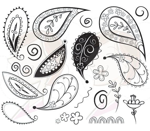 Digital Clipart Paisley Doodle Illustration by MayPLDigitalArt, $5.70