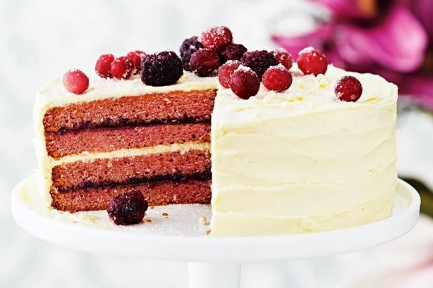 This show-stopping blackberry and white chocolate cake is sure to be the star of the dessert table.