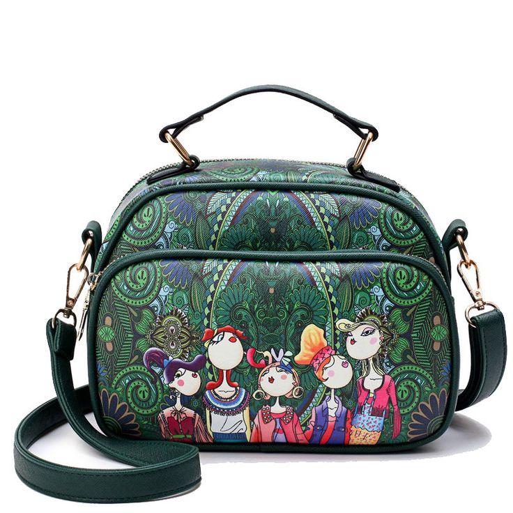 YQYDER Women Messenger Bags 2017 3D Digital Printing PU Leather Shoulder Bag Female Tote Handbags Forest Series Small Bag Bolsas