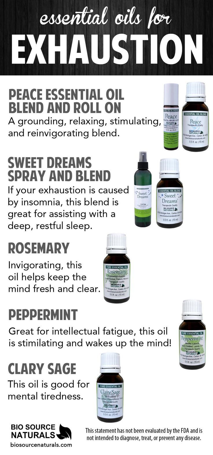Essential oils can help soothe symptoms of exhaustion.  Some benefits include relaxing, calming, clear and wakes the mind, sleep support and much more.  Click on the image for more information on essential oils for fatigue and exhaustion #aromatherapy