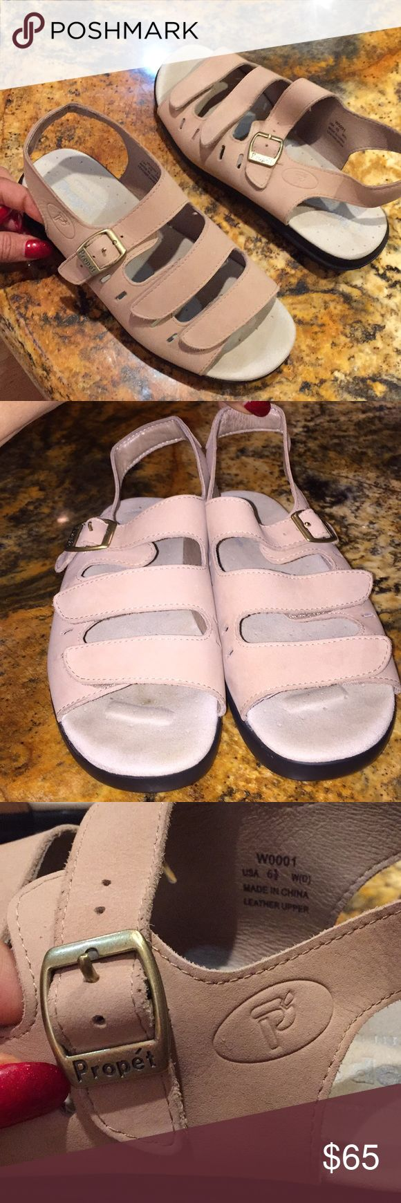 Propét super cushion stability sandal barely worn Perfect for the season on trend pastel blush... sandals built for wear, make standing and walking a pleasure! Propet Shoes Sandals