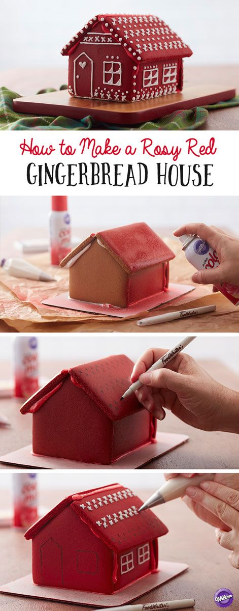 How to Make a Rosy Red Gingerbread House - Spray your gingerbread house with Wilton Color Mist food color spray to create a unique look that is sure to make your decoration stand out! Use edible FoodWriter markers to outline your details then pipe over them with icing for a whimsy and fun Rosy Red Gingerbread House that is sure to be a conversation starter at your holiday gathering.