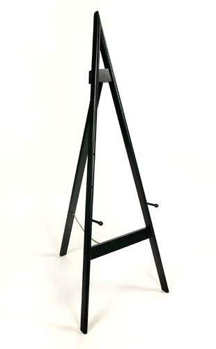 """A Frame Adjustable Wooden Easel.  Our A-Frame Adjustable Wooden Easel is an affordable solution for your art and signage display needs. The pegs have multiple settings to accommodate your 12"""" X 15"""" photo or up to a 48"""" height display. The rear leg is hinged and folds flat for convenient storage in the closet."""