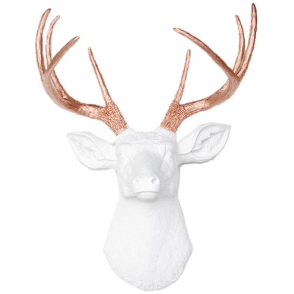 Deer Head Wall Mount White with Rose Gold Antlers Deer Head Antlers... ($88) ❤ liked on Polyvore featuring home, home decor, white home accessories, white home decor and antler home decor
