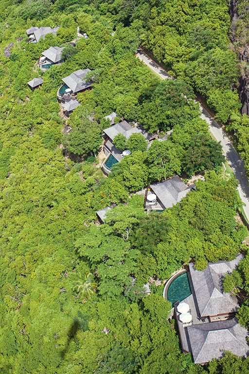 An aerial view of the hillside villas.