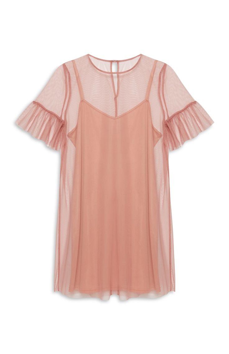 Primark - Pastelkleurige mesh jurk met trompetmouw
