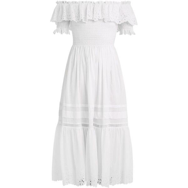 Rebecca Taylor Nouveau off-the-shoulder cotton dress ($458) ❤ liked on Polyvore featuring dresses, white, white dresses, off shoulder dress, rebecca taylor, cotton day dresses and white cotton dress