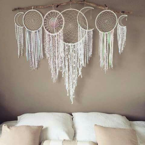 Drift wood white shell leather hemp organic natural tassle Moon phases dream catcher khaki bedroom diy bed headboard