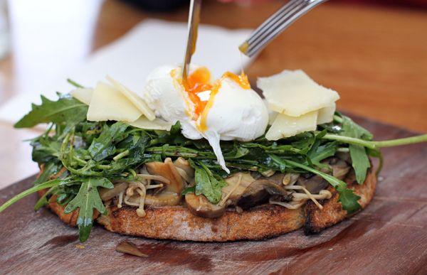 Mushroom, rocket, poached egg on Brasserie Bread sourdough toast at ...