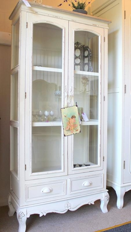 Cream Glass Display Cabinet With Drawers   Country Ash Range