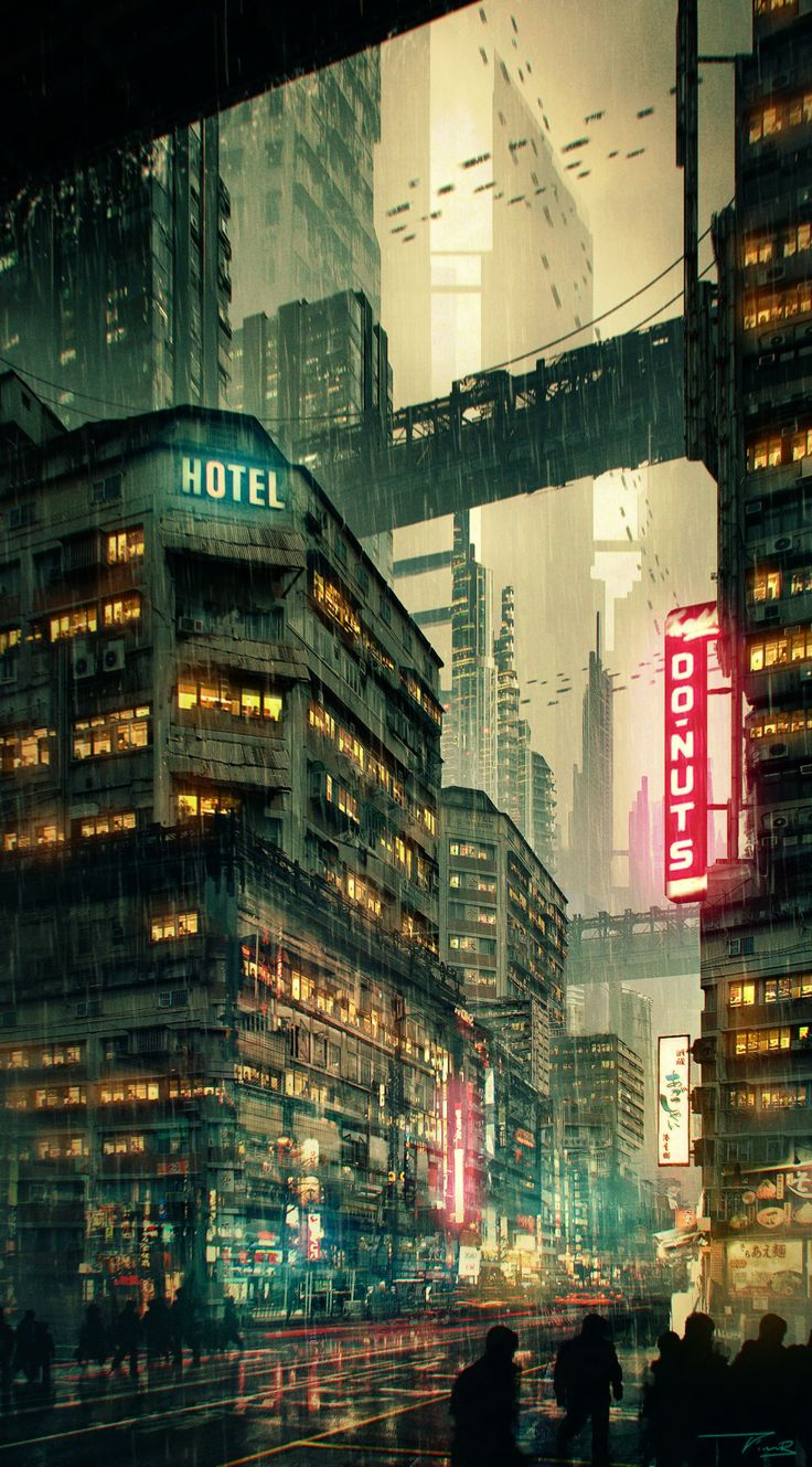 futuristic cityscape / digital art / cyberpunk / sci fi city / city lights