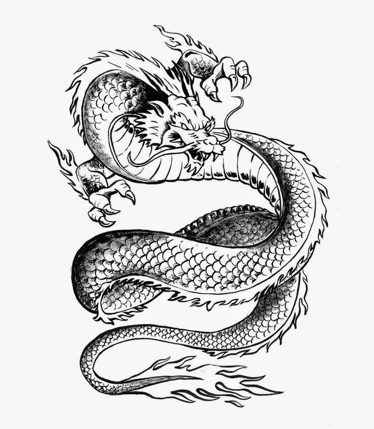 Chinese Dragon. Free tattoo stencil