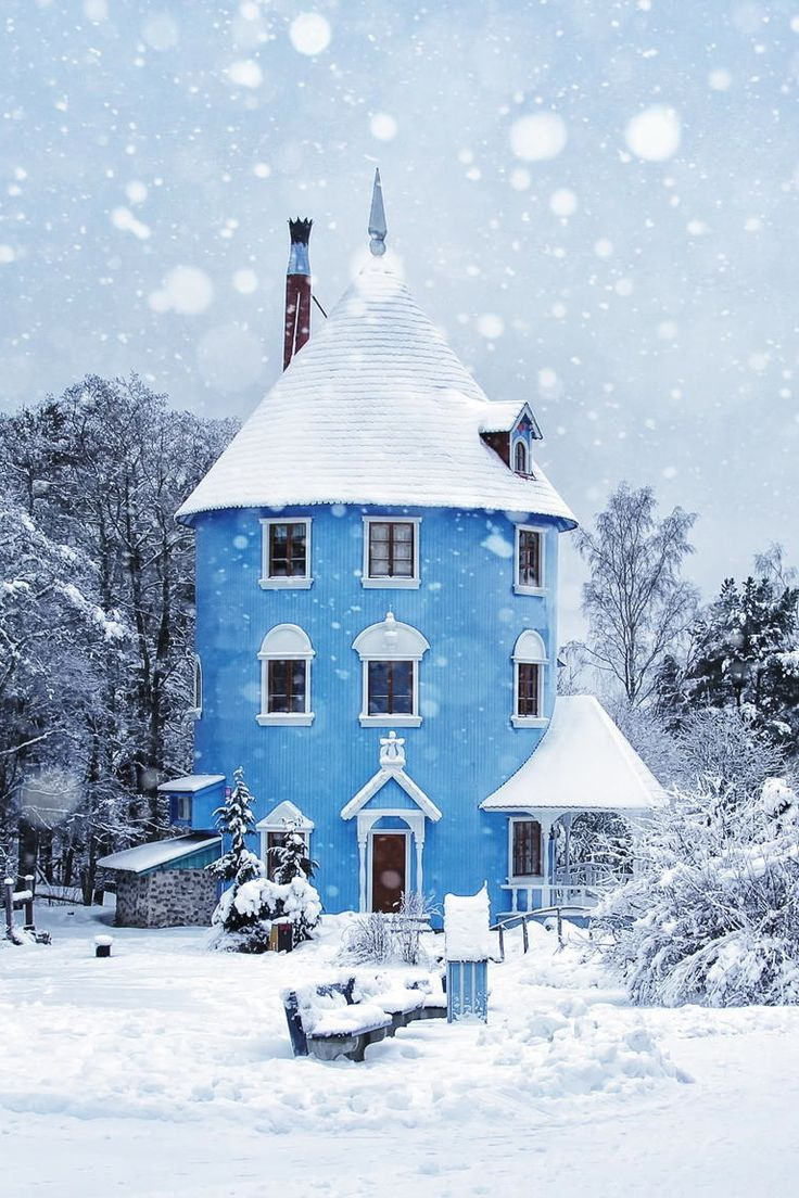 Moominhouse is a fictional house, where the Moomins live in the tales by Finnish author Tove Jansson. Its tall, round shape is said to be patterned after the porcelain stoves behind which the Moomins' ancestors used to live. Moomin World theme park, Naantali, Finland