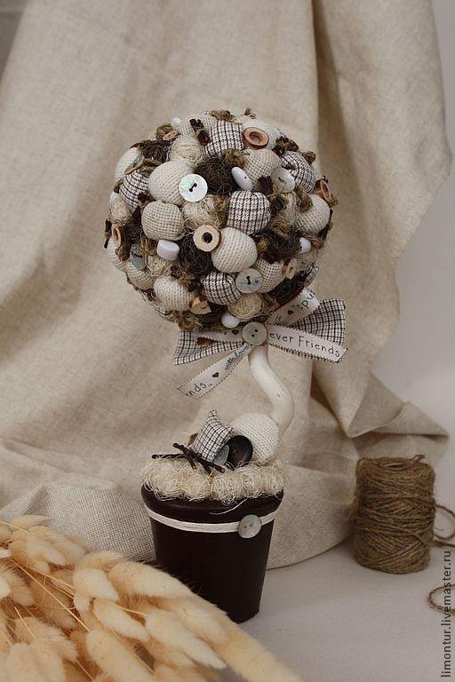 """Купить Топиарий """"Уютный"""" - белый, топиарий дерево счастья, ткань для рукоделия, мешковина, сизаль, дерево"""