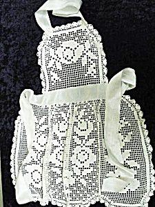 Antique filet lace apron
