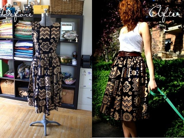 Great Project. I got a dress for $3 from Goodwill and made a skirt.