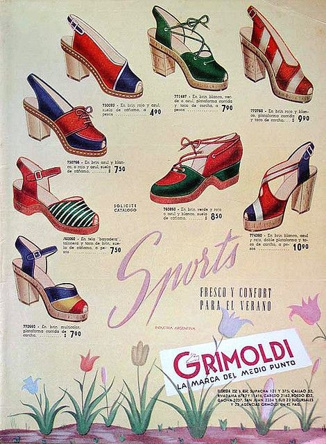 Grimoldi Gorgeous Spanish 40s Wedges, Vintage Shoe Ad. #vintage #fashion #1940s #WW2 #shoes