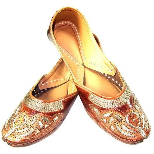 Women Indian Embroidered Ethnic Punjabi Jutti Leather Footwear India... ($27) ❤ liked on Polyvore featuring shoes, embroidered shoes, leather shoes, leather flat shoes, leather footwear and flat heel shoes