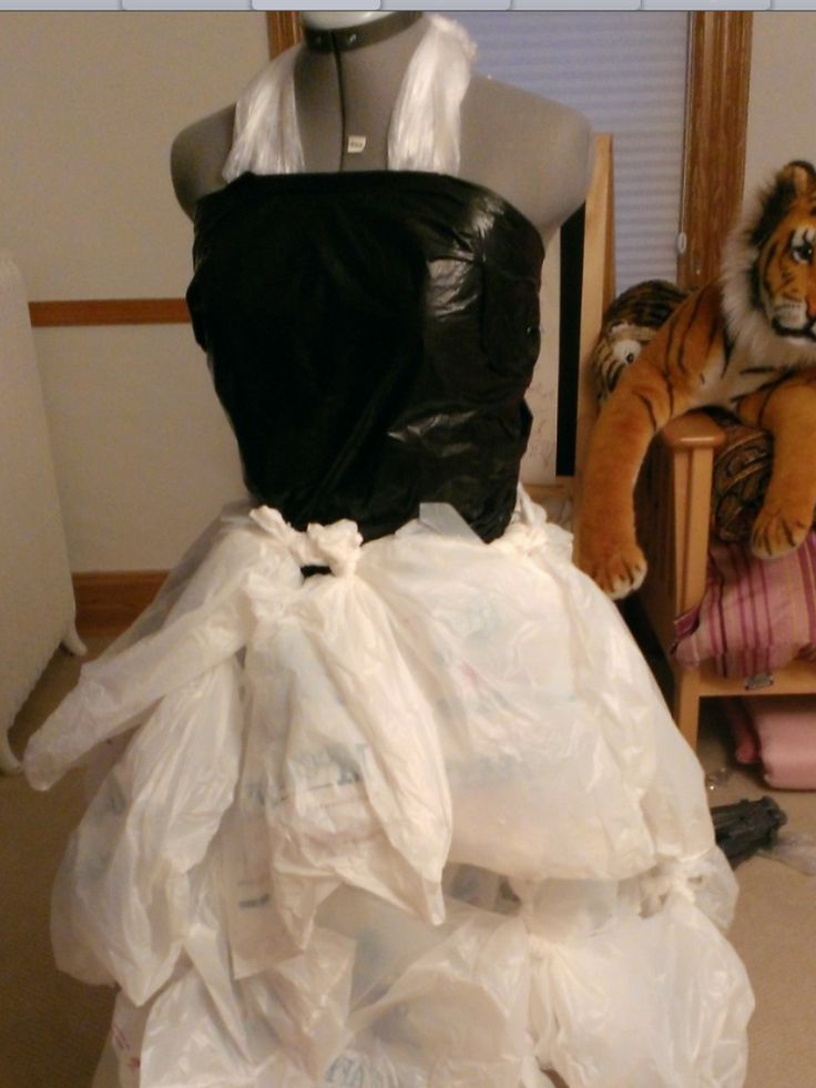 how to make a cocktail dress out of plastic bags