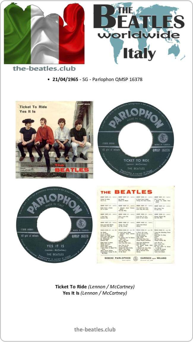 The Beatles Italy Single Parlophon QMSP 16378 Ticket To Ride Yes It Is Vinyl Record Discography
