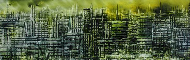 'Cityscape' Encaustic wax painting - Phil Madley
