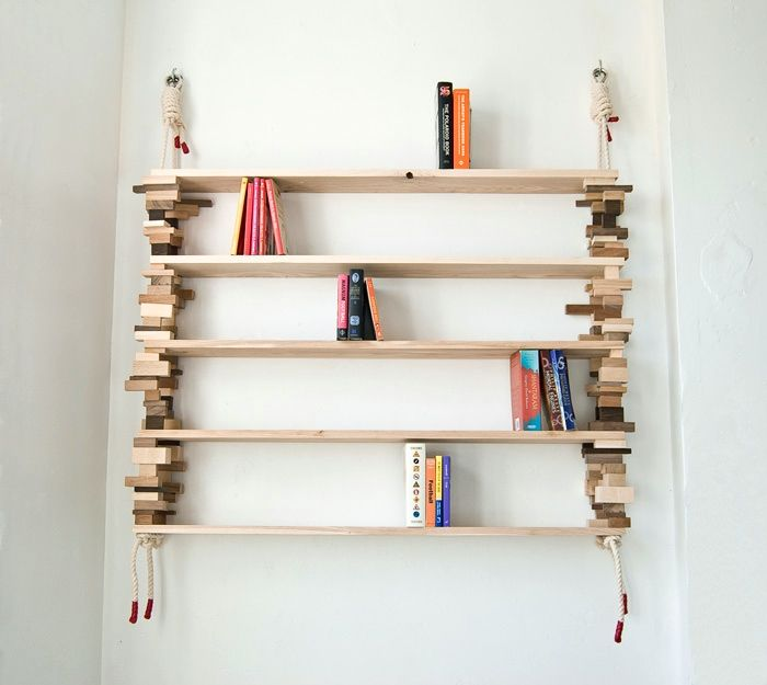 Blockshelf which is built of wood waste from flooring industry, recycled bricks and ropes. No screws, nails or glue