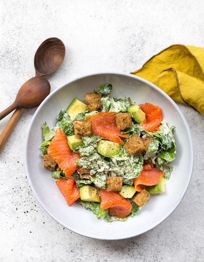 Salmon & avocado caesar salad. http://www.jotainmaukasta.fi/2017/03/05/lohi-avokadocaesar/