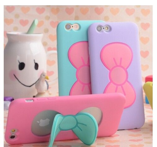 Cute Bowknot Cases with Stand Soft Case for iPhone 5S iPhone 6 6s iPhone 6s Plus